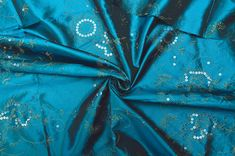 Teal Fabric, Art School, Fiber Art, Amsterdam, Upcycling Clothing, Floral Design, Sequins, Satin, Turquoise