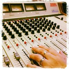 Broadcast console with jewelry.