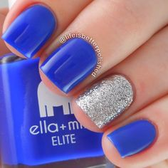 """Instagram media by lifeisbetterpolished - Quick blue mani to light it up blue for Autism Awareness!  I used @ellamilapolish """"bags are packed"""" and accented with #ellamila """"on thin ice""""  #lightitupblue #autismawareness"""