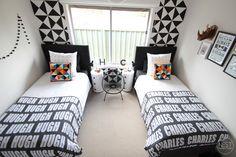 Nest Design Studio , black and white shared kids room