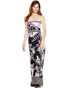 I want this dress!  White House | Black Market Strapless Floral Print Maxi Dress #whbm