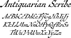 Antiquarian Scribe font - a few years ago, at an antique book shop in London, I bought a page from Henri Abraham Chatelain's famous Atlas Historique - a page covering the Indian Ocean - that had a particularly alluring, oblique handlettering style. This font is based on that page. The overall effect is neat and legible, with a distinctly historical flair.