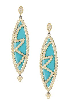 14K Gold Plated Sterling Silver CZ & Turquoise Marquise Earrings