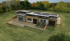 Graphic of a modern house with solar panels on the roof.