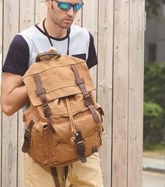 Large Canvas Leather Hiking Outdoor Travel Backpack  #canvasbackpack #leatherbackpack #hikingbackpack
