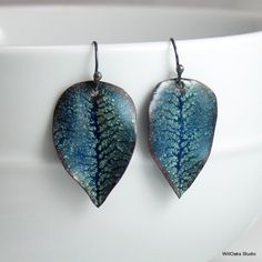 Copper Enamel Leaf Earrings, Dark Blue with Pale Blue Details