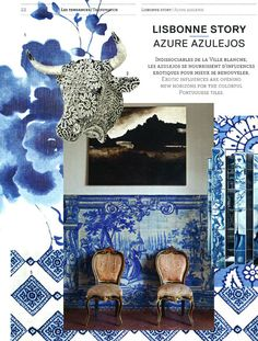 Shali Lapis and Madura Lapis from the John Robshaw Fabric Line are featured in this blue and white themed AD Collector May 2012 feature.