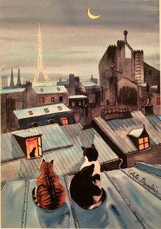 Colette Bruneliere: Paris cats on the roof