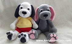 This is a BIG puppy, standing about 20 inches tall if you use the same yarn and hook size given in the supplies list.