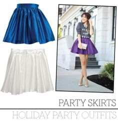 Holiday Outfits Bold Blue Party Skirt, $195 CAD, SKOT Apparel. Chiffon Skirt, $29.95 CAD, H&M. Party Skirt styled by Stephanie Sterjovski or Paper Doll.