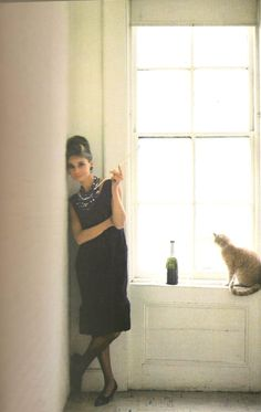 Audrey and Cat. Promotional shot for Breakfast at Tiffanys