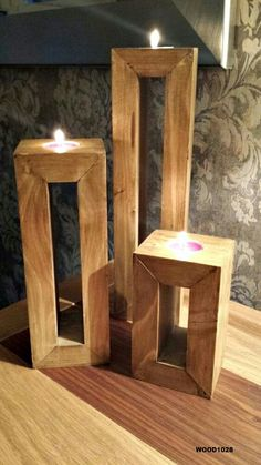 Hand Made Trio of Candle Holders from Reclaimed Wood (Diy Furniture Pallets) Carpentry Projects, Wooden Projects, Wooden Crafts, Simple Wood Projects, Art Projects, Wood Projects For Beginners, Wood Working For Beginners, Wooden Candle Holders, Wood Tea Light Holder