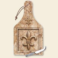 New FLEUR-DE-LIS CHEESE CUTTING BOARD w/ KNIFE French Kitchen Decor Tan Beige
