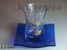 ARTGLASS HANDMADE TEA GLASS 6 TEA GLASS AND SAUCERS #ArtGlass