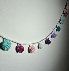 Housewares and decor Garland crocheted stuffed  small hearts  valentine day handmade by Artefyk