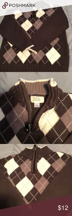 Children's Place Argyle Sweater Very gently used brown, white and gray argyle sweater with a 1/4 zip at the neck. Argyle pattern is only on the front. Cotton and acrylic, size small boys (5-6). Children's Place Shirts & Tops Sweaters