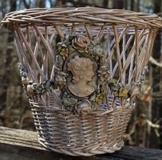 Barbola Cameo and Rose Swags Wastebasket Blush Pink French Country, Paris Apartment, Shabby Chic, Romantic Cottage by CrabappleLane on Etsy
