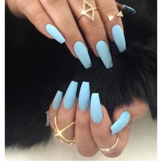 Matted sky blue nails