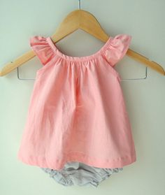 Pink and Grey Linen Baby Girl Dress and Bloomer by bluedaisywares, $35.00