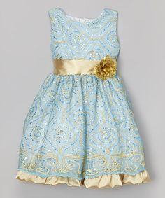 $24.99 ~ Another great find on #zulily! Blue Embroidered A-Line Dress - Infant, Toddler & Girls #zulilyfinds