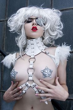 Sima Leather Harness/Top with Feather shoulder accents