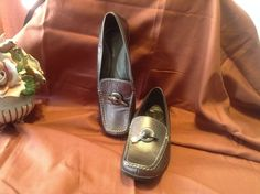SOLD!!  Women Ladies Liz Claiborne Bronze Brown Leather Loafers Flats Slip Ons SZ 9.5  #LizClaiborne #LoafersMoccasins #Casual