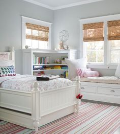 This bedroom makes good use of a corner built-in bookcase and window seat with storage. Home Bedroom, Bedroom Decor, Bedroom Storage, Bedroom Furniture, Bedroom Ideas, Cottage Bedrooms, Childs Bedroom, Furniture Layout, White Furniture