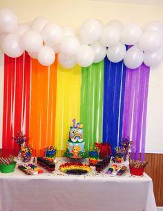Ideas For Baby Shower Decoracion Arcoiris Trolls Birthday Party, Rainbow Birthday Party, Baby First Birthday, Unicorn Birthday, First Birthday Parties, Rainbow Birthday Decorations, Trolls Party, 5th Birthday, Birthday Ideas