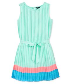 Tommy Hilfiger Girls' Pleated Colorblocked Dress