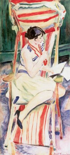 Mimi in the Deckchair - Frank Frigyes , 1927 Hungarian 1890–1976 Oil on canvas