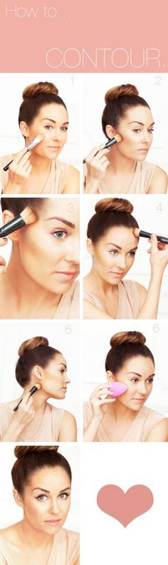 1.     Apply foundation all over face and neck with a sponge, foundation brush or fingers.    2.     Look in the mirror and suck in your cheeks.  This will instantly show you exactly where your cheekbones are.  Sweep bronzing powder/cream bronzer with a flat-headed bronzer brush just slightly under cheekbones from the hollows to your ear.    3.     Sweep bronzer in circular motions directly on temples.    4.     Contour along the hairline.    5.     Contour directly underneath your jawline.    6.     Blend edges with a sponge.