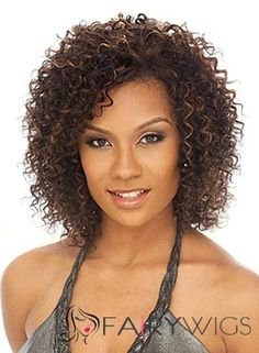 Chic Short Curly Brown No Bang African American Lace Wigs for Women 12 Inch