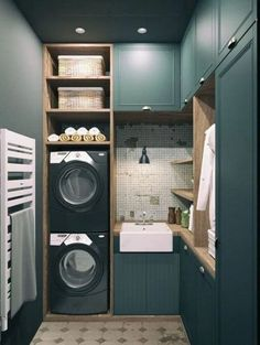 10 Clever Cabinet Ideas For Small Laundry Rooms Tiny Laundry Room? Try These 10 Creative Cabinet Ideas Tiny Laundry Rooms, Living Room Storage, Laundry Room Organization, Laundry Room Design, Laundry Area, Laundry Storage, Laundry Room Inspiration, Small Room Design, Home Design