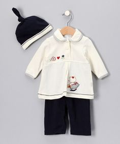 This Crème & Navy Bear Pants Set - Infant by Rumble Tumble is perfect! #zulilyfinds