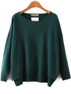 Round Neck Dip Hem Royal Green Sweater