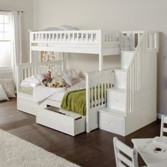 Hayneedle: Columbia Twin over Full Stairway Bunk Bed