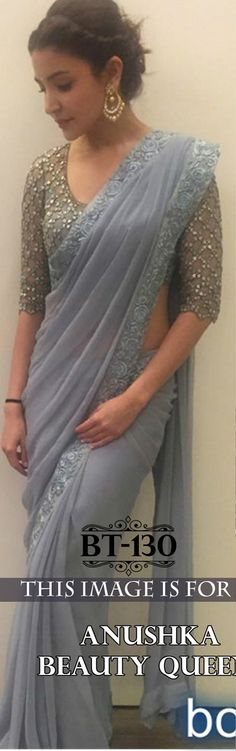 Designer Bollywood Anushka Grey Saree By Hir Fashion