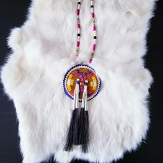 By Feral Fawn Native Fashion, White C, Native Style, Horse Hair, Purple Yellow, Quilling, Suede Leather, Tassel Necklace, Tassels