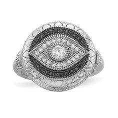 Quality Gold Sterling Silver Rhodium-plated Black and White CZ Evil Eye Ring