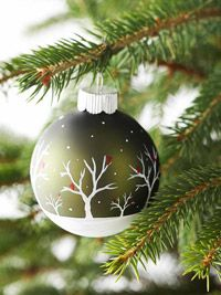 Snowy-Scene Painted Christmas Ornament from BHG. Capture the beauty of a winter wonderland on a Christmas ornament. Follow our step-by-step directions for an easy-to-paint scene.