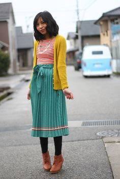 Cardy: J.Crew; Necklace: J.Crew Factory; Top: Urban; Skirt: Majestic Legion; Shoes: Uniqlo