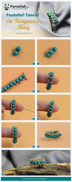 Tutorial On Turquoise Ring – Schmuck Seed Bead Jewelry, Jewelry Shop, Jewelry Design, Turquoise Rings, Turquoise Beads, Beaded Jewelry Patterns, Beading Patterns, Beaded Rings, Beaded Bracelets