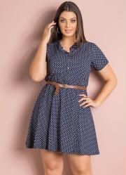 Vestido Evasê (Poá Azul) e Cinto Plus Size