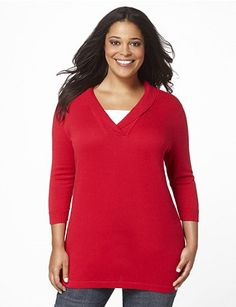Sumptuous sweater offers warmth and coverage in a stylish design. A stitched inset at the ribbed V-neckline creates a double-layer look without the added bulk. Features three-quarter sleeves. Catherines tops are designed for the plus size woman to guarantee a flattering fit.  catherines.com