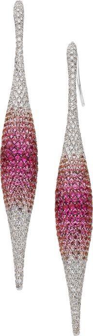 "{Daily Jewel} Pink Sapphire and Diamond Earrings by Palmiero ""Pink Sapphire, Diamond, White Gold Earrings by Palmiero ""Each earring features round-cut pink… "" "" View Post Sapphire And Diamond Earrings, Pink Sapphire, Gold Earrings, Diamond Jewelry, Gold Bracelets, Diamond Stud, Gemstone Earrings, Drop Earrings, Gems Jewelry"