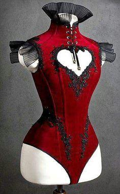 "This looks like a steampunk trapeeze artist outfit! Handmade ""Velvet Heart"" corset by Irina IriSSa Pavshin for Fair Masters. Mode Outfits, Fashion Outfits, Womens Fashion, Party Outfits, Steampunk Fashion, Gothic Fashion, Steampunk Clothing, Emo Fashion, Steampunk Lingerie"