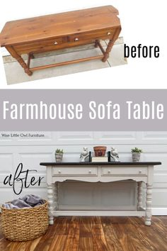Back to basics today, Friends, with this simple farmhouse sofa table! I know farmhouse style is still popular because these pieces sell very easily for Farmhouse Sofa Table, Farmhouse Furniture, Painted Sofa, Painted Furniture, Painted Tables, Colorful Furniture, Diy Furniture Projects, Furniture Makeover, Upcycled Furniture