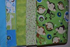 Green Monkey Snuggle flannel fabric bundle 5 by LavenderNThyme