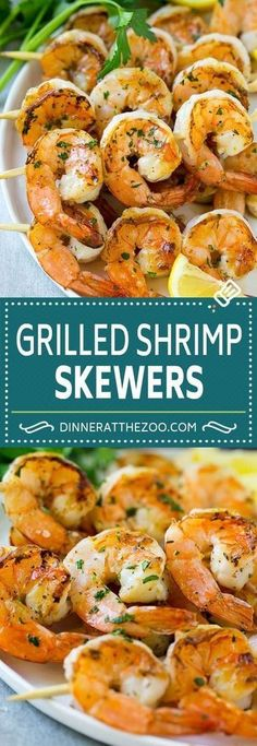 These grilled shrimp skewers are shrimp marinated in garlic, lemon and herbs, then threaded onto sticks and cooked to perfection. Shrimp kabobs can be on your table in just 20 minutes, which makes them perfect for a busy night! Marinated Grilled Shrimp, Grilled Meat, Grilled Skewers, Bbq Shrimp Skewers, Grilled Shrimp Seasoning, Grilled Seafood, Shrimp Kabob Marinade, Best Grilled Shrimp Recipe, Barbecue Shrimp