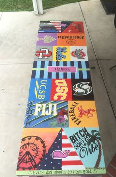 Spending your summer painting a beer pong table. Custom Beer Pong Tables, Beer Table, Diy Table, Summer Painting, Diy Painting, Cooler Painting, College Crafts, Ping Pong Table, Summer Crafts